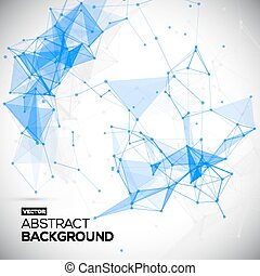 Abstract, low poly, Molecule And Communication Background. Abstract white bright technology vector background. Connection structure. Vector science background. Polygonal vector background