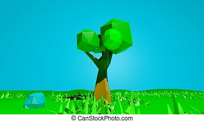 Abstract low poly nature landscape background