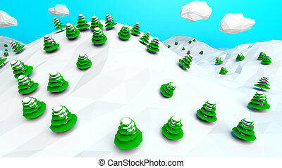 Abstract low poly nature winter landscape background