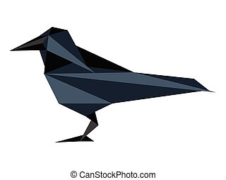Abstract low poly raven icon