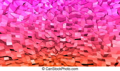 Abstract low poly style looped background. 3d seamless animation in 4k. Modern gradient colors. 14