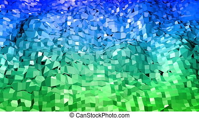 Abstract low poly style looped background. 3d seamless animation in 4k. Modern gradient colors. Blue green colors 1