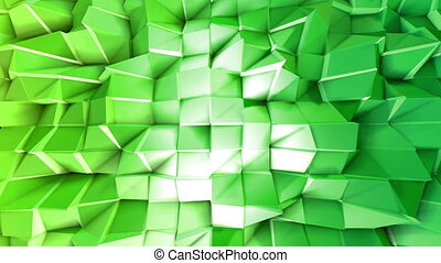 Abstract low poly style looped background. 3d seamless animation in 4k. Modern gradient colors. Green surface shimmers and shines 9