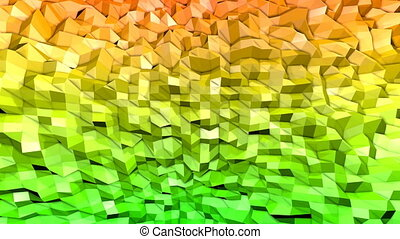 Abstract low poly style looped background. 3d seamless animation in 4k. Modern gradient colors. Green yellow colors 1