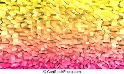 Abstract low poly style looped background. 3d seamless animation in 4k. Modern gradient colors. Low poly yellow red surface v1