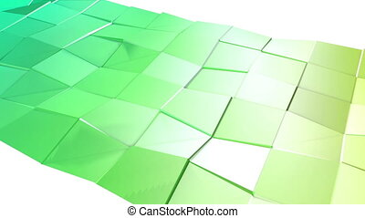 Abstract low poly style looped background. 3d seamless animation in 4k. Modern gradient colors. Low poly green surface v2