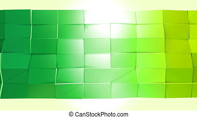 Abstract low poly style looped background. 3d seamless animation in 4k. Modern gradient colors. Low poly yellow green surface v1