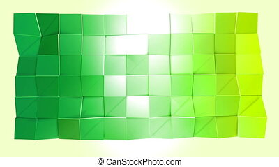 Abstract low poly style looped background. 3d seamless animation in 4k. Modern gradient colors. Low poly green surface v3