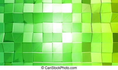 Abstract low poly style looped background. 3d seamless animation in 4k. Modern gradient colors. Low poly green surface v1