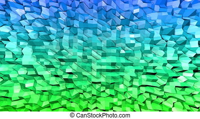 Abstract low poly style looped background. 3d seamless animation in 4k. Modern gradient colors. Low poly blue green surface v1
