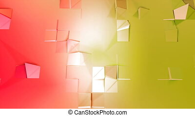 Abstract low poly style looped background. 3d seamless animation in 4k. Modern gradient colors. Red yellow surface shimmers and shines 6