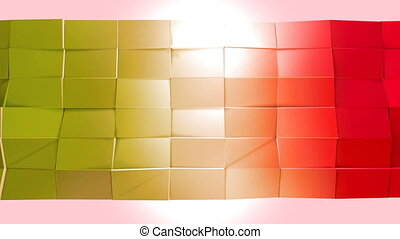 Abstract low poly style looped background. 3d seamless animation in 4k. Modern gradient colors. Red yellow surface shimmers and shines 4