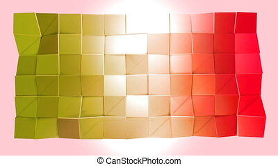 Abstract low poly style looped background. 3d seamless animation in 4k. Modern gradient colors. Red yellow surface shimmers and shines 3