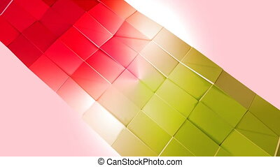 Abstract low poly style looped background. 3d seamless animation in 4k. Modern gradient colors. Red yellow surface shimmers and shines 5