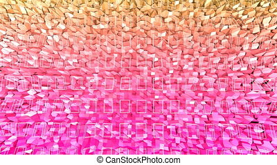 Abstract low poly style looped background. 3d seamless animation in 4k. Modern gradient colors. Red orange surface shimmers and shines 3