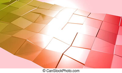 Abstract low poly style looped background. 3d seamless animation in 4k. Modern gradient colors. Red yellow surface shimmers and shines 2