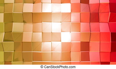 Abstract low poly style looped background. 3d seamless animation in 4k. Modern gradient colors. Red yellow surface shimmers and shines 1
