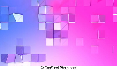 Abstract low poly style looped background. 3d seamless animation in 4k. Modern gradient colors. Red blue surface shimmers and shines 10