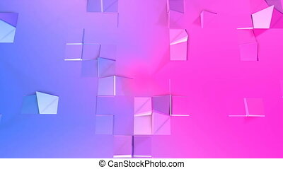 Abstract low poly style looped background. 3d seamless animation in 4k. Modern gradient colors. Red blue surface shimmers and shines 11