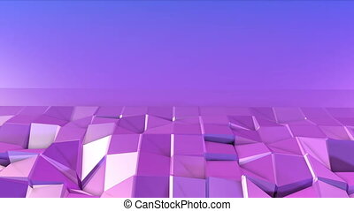Abstract low poly style looped background. 3d seamless animation in 4k. Modern gradient colors. Violet surface shimmers and shines 3