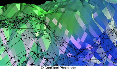 Abstract low poly style looped background. 3d seamless animation in 4k. Modern gradient colors. Green blue surface shimmers and shines with grid. 4