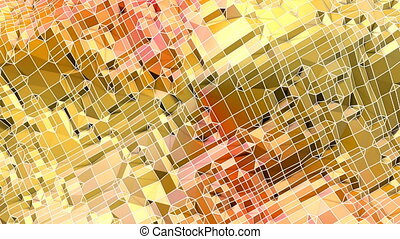 Abstract low poly style looped background. 3d seamless animation in 4k. Modern gradient colors. Yellow red surface. 1