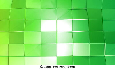Abstract low poly style looped background. 3d seamless animation in 4k. Modern gradient colors. Green surface shimmers and shines 12