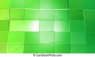 Abstract low poly style looped background. 3d seamless animation in 4k. Modern gradient colors. Green surface shimmers and shines 11