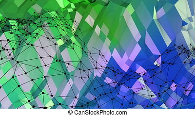 Abstract low poly style looped background. 3d seamless animation in 4k. Modern gradient colors. Green blue surface shimmers and shines with grid. 3
