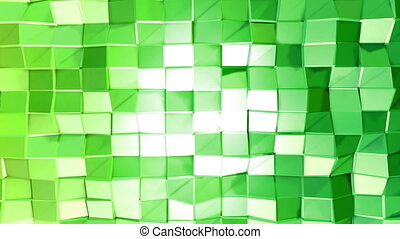 Abstract low poly style looped background. 3d seamless animation in 4k. Modern gradient colors. Green surface shimmers and shines 6