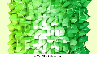 Abstract low poly style looped background. 3d seamless animation in 4k. Modern gradient colors. Green surface shimmers and shines 7