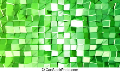 Abstract low poly style looped background. 3d seamless animation in 4k. Modern gradient colors. Green surface shimmers and shines 3