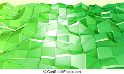Abstract low poly style looped background. 3d seamless animation in 4k. Modern gradient colors. Green surface shimmers and shines 2