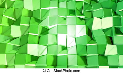 Abstract low poly style looped background. 3d seamless animation in 4k. Modern gradient colors. Green surface shimmers and shines 1