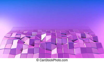 Abstract low poly style looped background. 3d seamless animation in 4k. Modern gradient colors. Violet surface shimmers and shines 4