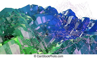 Abstract low poly style looped background. 3d seamless animation in 4k. Modern gradient colors. Green blue surface shimmers and shines with grid. 18