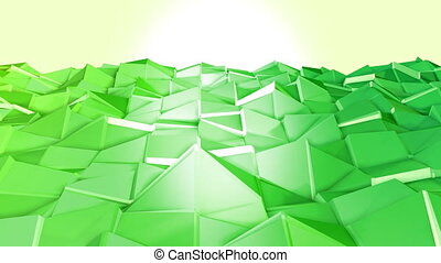 Abstract low poly style looped background. 3d seamless animation in 4k. Modern gradient colors. Green surface shimmers and shines 4
