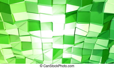 Abstract low poly style looped background. 3d seamless animation in 4k. Modern gradient colors. Green surface shimmers and shines 5