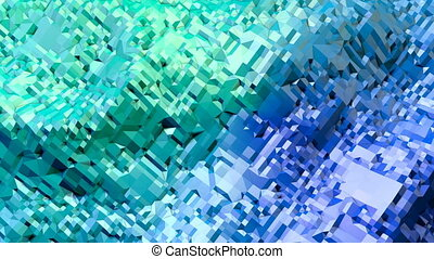 Abstract low poly style looped background. 3d seamless animation in 4k. Modern gradient colors. Green blue surface shimmers and shines 11