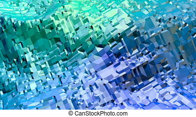 Abstract low poly style looped background. 3d seamless animation in 4k. Modern gradient colors. Green blue surface shimmers and shines 10