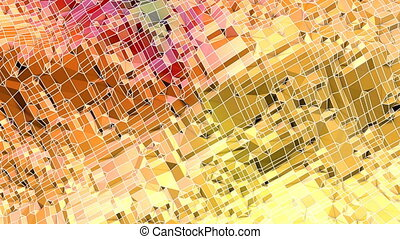 Abstract low poly style looped background. 3d seamless animation in 4k. Modern gradient colors. Yellow red surface. 2