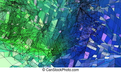 Abstract low poly style looped geometric background. 3d...