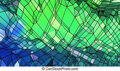 Abstract low poly style looped geometric background. 3d seamless animation in 4k. Modern gradient colors. Low poly blue green surface as cartoon terrain v2