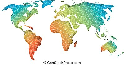 Abstract low poly world map, vector