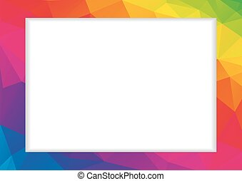 Abstract low polygonal frame in rainbow colors