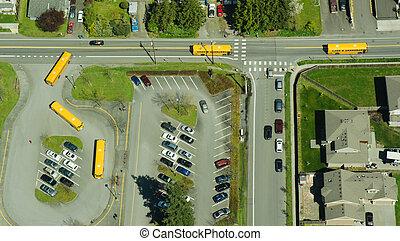 abstract, luchtopnames, perspectief, van, school vervoert per bus