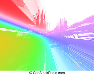 Abstract luminous future background - Abstract rainbow...