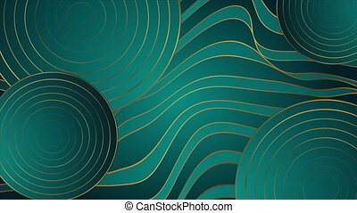 Abstract luxury wavy bronze and turquoise corporate motion background with circles. Seamless looping. Video animation Ultra HD 4K 3840x2160