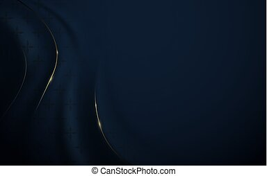 Abstract luxury dark blue and gold background. Wavy silk fabric texture