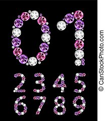 Abstract Luxury Diamond Numbers Vector Illustration EPS10
